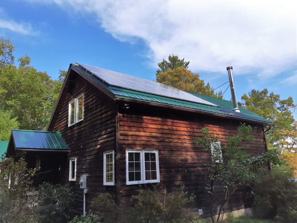 Cabin with solar panels